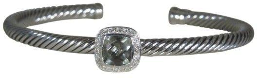 David Yurman 925 Sterling Silver Noblesse Prasiolite Diamond Cuff Bracelet