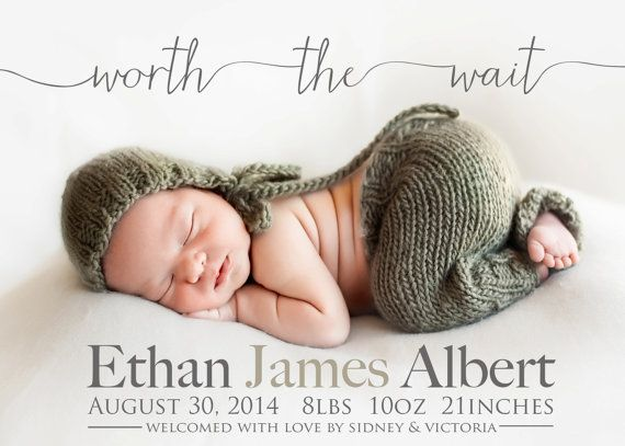 Worth the wait - Adoption Announcement - PHOTO Birth ANNOUNCEMENT - Boy or Girl -  Printable, Digital, Custom - baby boy announcement