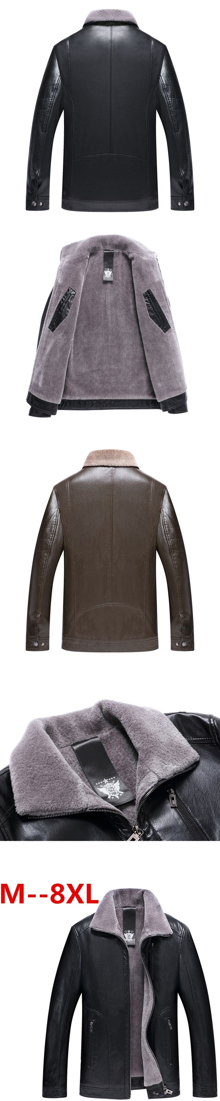 plus size 10XL 8XL 6XL 5XL Winter real Leather Jacket for Men Fashion Brand Brown Sheepskin Jackets and Coats with Wool Lining