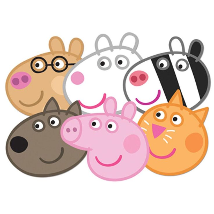 Peppa Pig Face Mask Set of 6 (Peppa, Candy, Danny, Suzie, Pedro ... - ClipArt Best - ClipArt Best