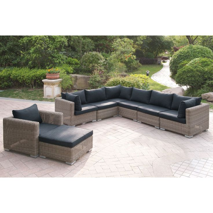 Khorol 8 Piece Patio Sectional Sofa Set In Tan And Grey