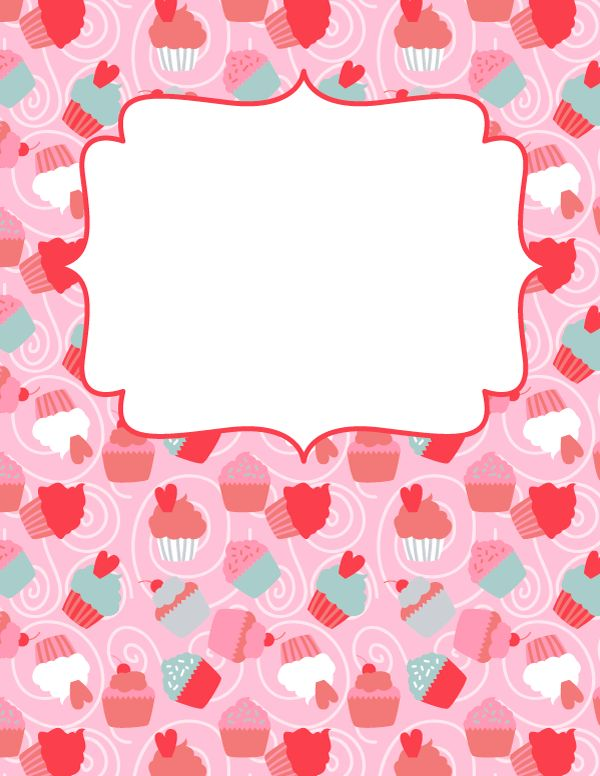 Free printable cupcake binder cover template. Download the cover in JPG or PDF format at http://bindercovers.net/download/cupcake-binder-cover/