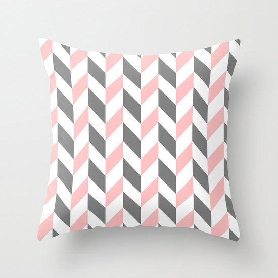 Chevron Pillow // Pastel ZigZag Pillow Cover // Decorative Pillow // Pink and Grey Cushion Case // Home Decor