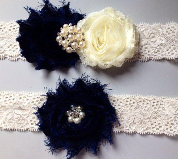 Navy Blue Wedding garter Set / wedding garters / by HopesBridal