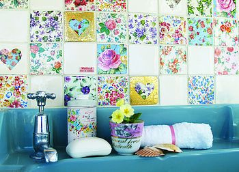 Patchwork bathroom tiles!  -- [REPINNED by All Creatures Gift Shop]  Here's another one.  How pretty is this?  Just start a tile collection.  Get a few from us, some from eBay, your local tile artist.  Someday you'll have the whole wall done. :-)