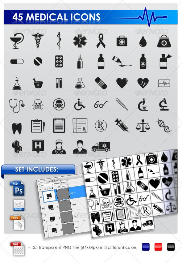 Set of 45 Medical icons consists:- 1 layered PSD file (shape layers only)- 1 CSH (Photoshop shapes library)- 1 EPS file (CS2)- PNG