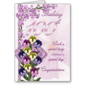 100th Birthday Card For A Special Lady