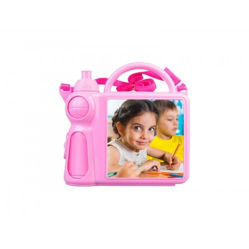 Personalised Children's Lunchbox with Water Bottle and Handle - PinkPremium quality coloured plastic lunch box for childrenComes with a water bottle that is held securely inside when the lunchbox is closed and released when openEasy to hold handle makes it suitable for smaller children as well as ol