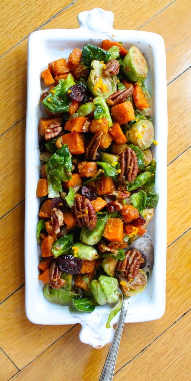 Orange Glazed Butternut Squash and Brussels Sprouts #recipe | beautiful colors & flavors for the holiday season