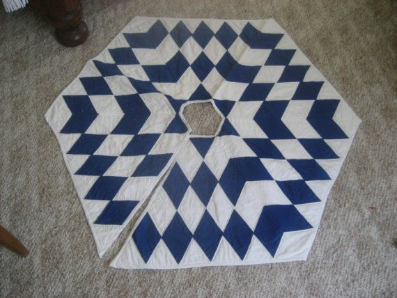 Blue and White Quilted Christmas Tree Skirt by kksplawn on Etsy