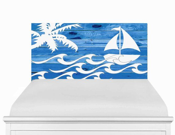 Wooden+Headboard+Nautical+Furniture+Sailboat+by+SweetSilhouetteArt