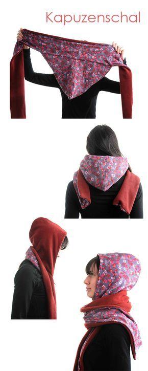 Géniale idée de confection de capuchon-foulard réversible, qui semble de surcroît très chaud!