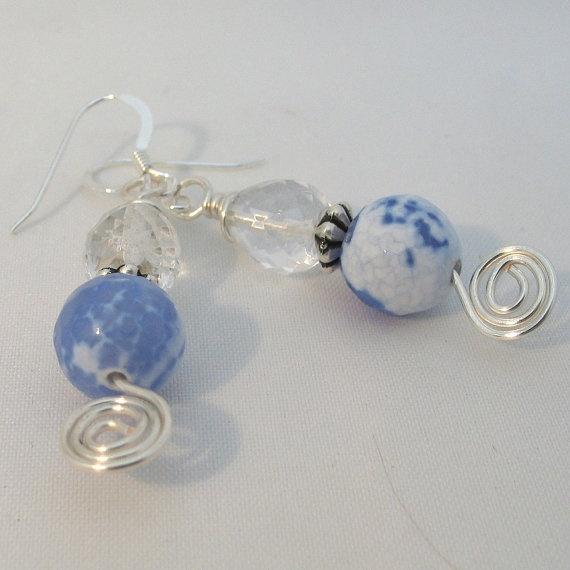 Blue Earrings Sterling Silver Earwires Fire Agate by adiencrafts: Beads Crafts, Fire Agates, Earrings Pale, Blue Necklaces, Gemstones Earrings, Earrings Hands, Earrings Sterling, Blue Fire, Blue Earrings