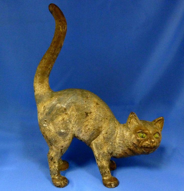 Antique hubley cat cast iron doorstop original paint circa 1900 ve - Cast iron cat doorstop ...