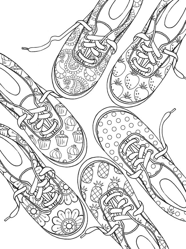 sneaker designs coloring book 6 sample pages