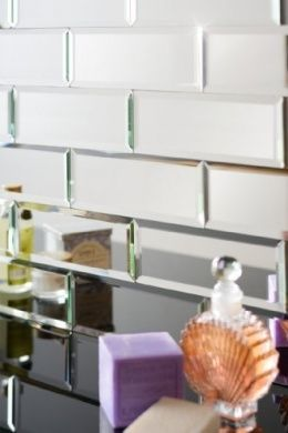 My-Furniture Silver mirrored mirror bevelled wall tiles - brick sized - ideal for Bathroom Kitchen