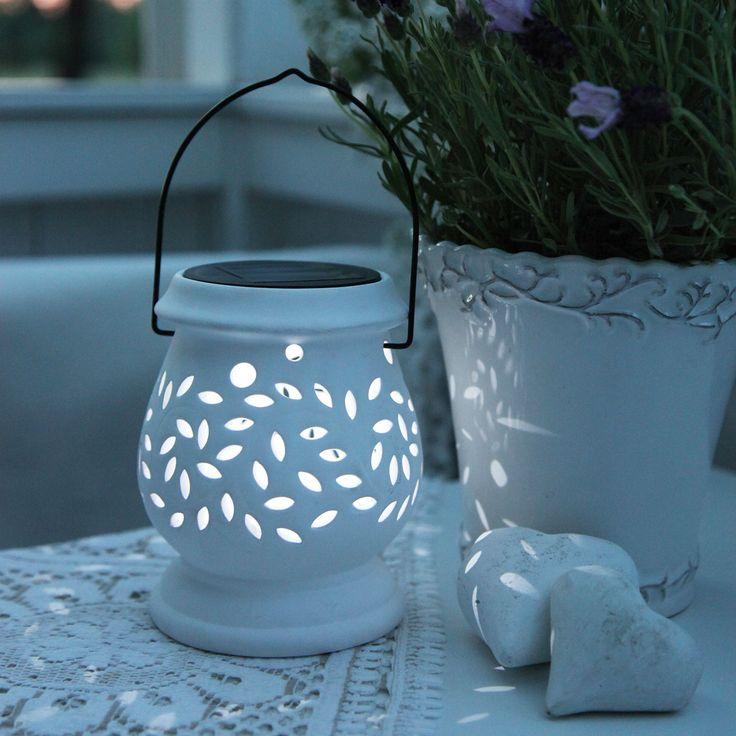 CLAY LANTERN - Lanterne Solaire Extérieur Blanc LED H14,5cm Best Season