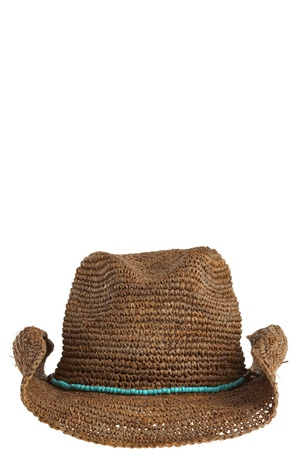 Crochet Cowboy Hat. Tobacco brown straw with a contrast turquoise beaded band. A cool way to shield your face from the sun.