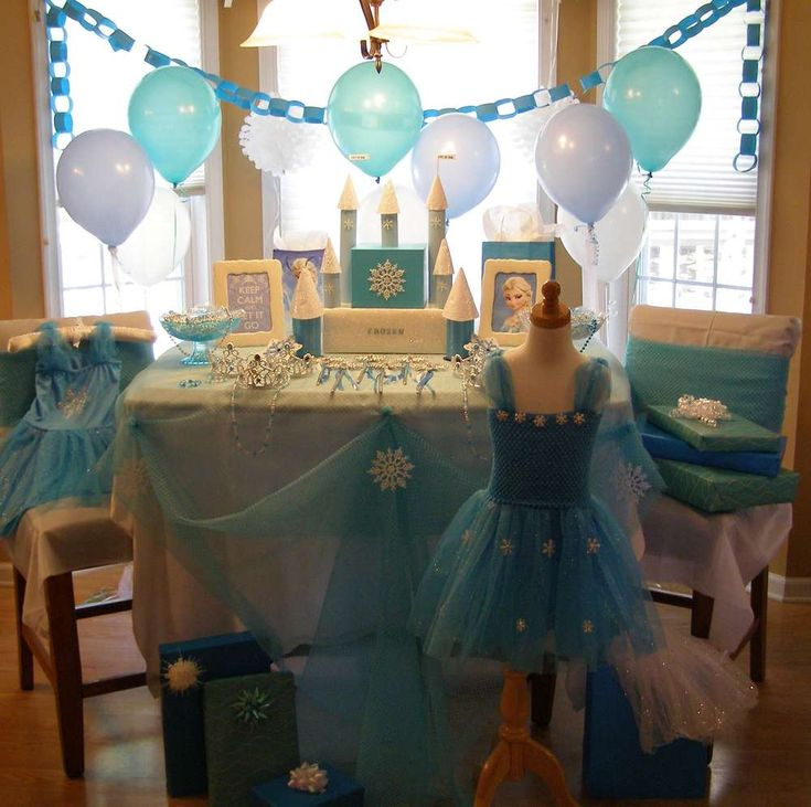 Pretty Frozen birthday party! See more party ideas at CatchMyParty.com!
