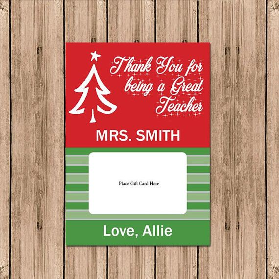 Printable Gift Card Holder, Thank you for being a great teacher, DIY gift card holder, Teacher Christmas Card, Personalized Holiday Card DIY