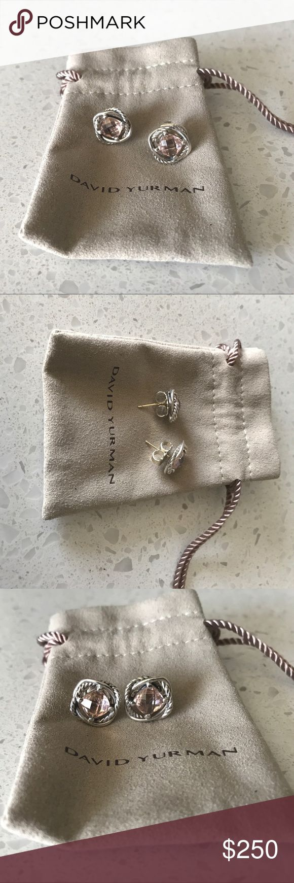 David Yurman Morganite Infinity Earrings These are really beautiful earrings, barely worn. I just don't wear them often and I don't wear much pink. Comes with original pouch. Firm on price. Sales only, please! David Yurman Jewelry Earrings