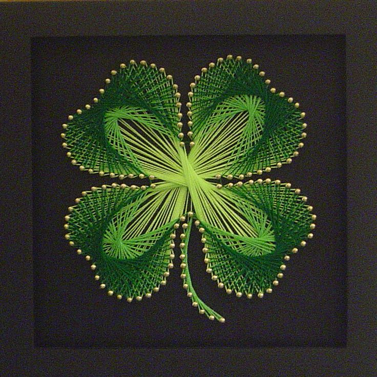 String art idea puntillas cuadros pinterest irish four leaf clover and string art - String art modele ...