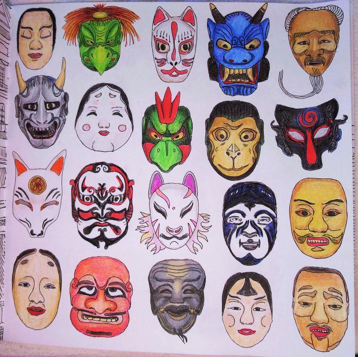 Zoe De Las Cases Secret Japan Colouring Book Masks By Michelle