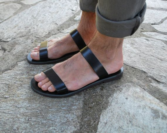 Mens Leather Slippers, Leather Slides, Mens Summer Sandals