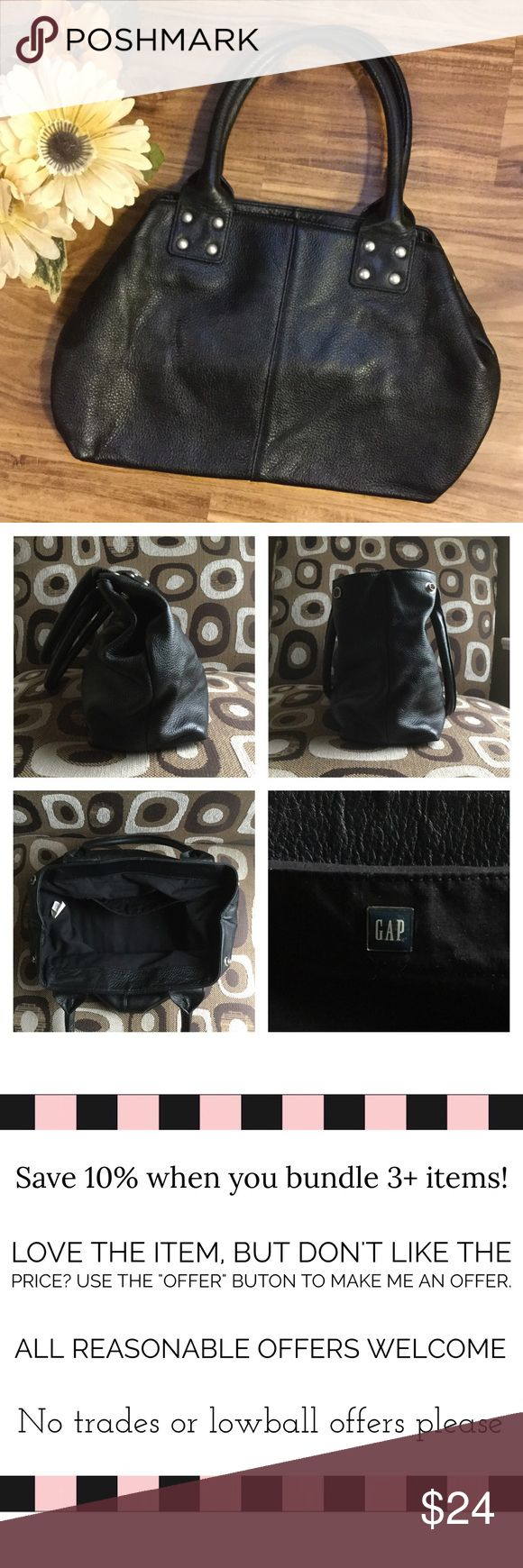"""*SALE* Black Leather Gap Purse 100% leather black Gap purse. A great basic essential! Leather is super soft with nice studded detail. It features side snaps as well to expand it's capacity. 9"""" H x 14"""" L (bottom) x 9"""" L (top) x 6"""" W (unsnapped). Has 1 inside pocket. GAP Bags Satchels"""