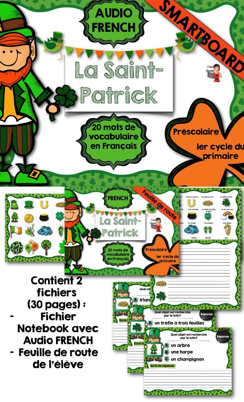 $ Ce produit comprend 2 fichiers numériques sur le thème de la St-Patrick : 1- Fichier Notebook comprenant un jeu interactif de 27 pages associer image et mot  2- Fichier à imprimer comprenant les 20 mots de la St-Patrick. Vous pourrez utiliser cette feuille de route « handout » tout au long de l'activité. Pendant que des élèves sont au SmartBoard, les autres élèves pourront également participer avec ce fichier.