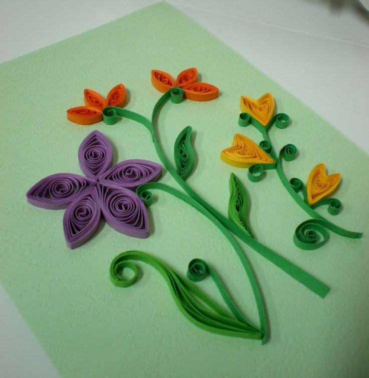 Квиллинг открытка пошагово цветы