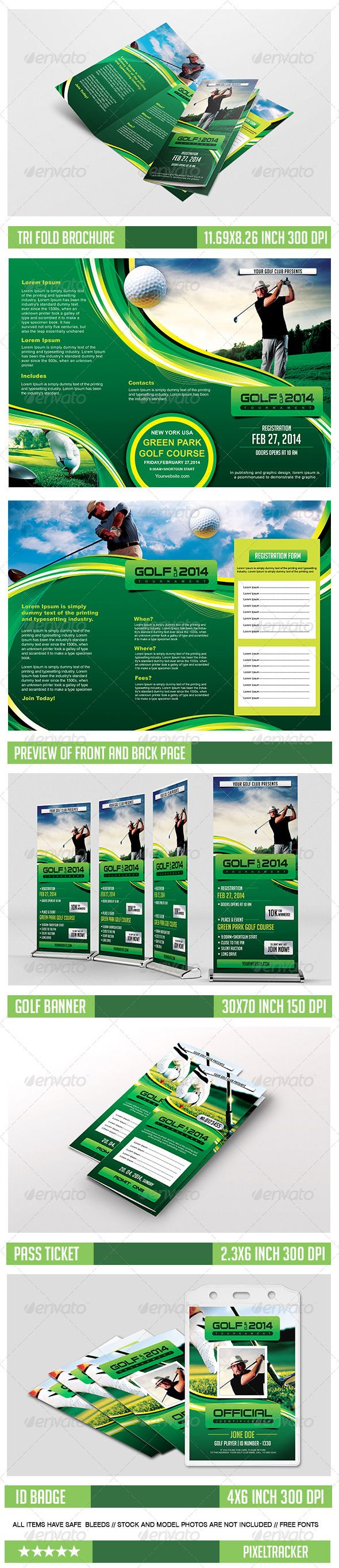 Golf event tri fold brochure and banner template download for Golf brochure template