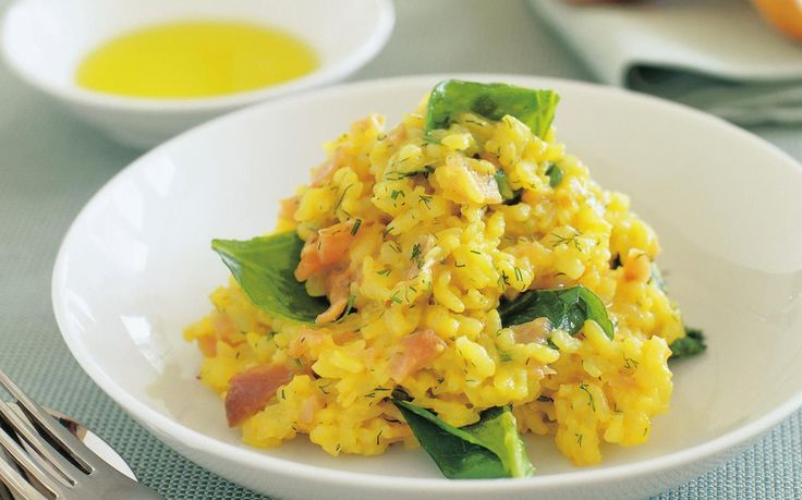 buttery wine risotto with smoked salmon
