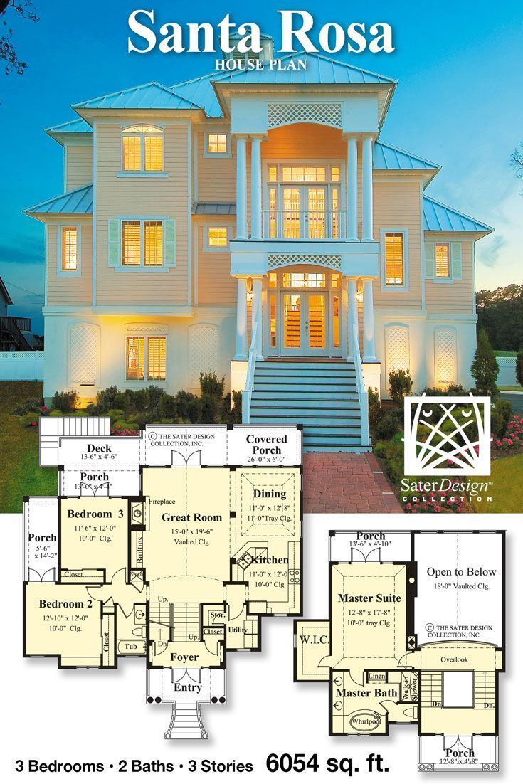 The Santa Rosa Home Plan House Plans By The Sater Design Collection In 2020 How To Plan Floor Plans Flooring