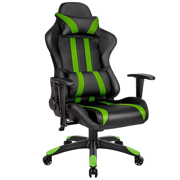 TecTake Silla de oficina ergonomica racing gaming con soporte lumbar negro verde: Amazon.es: Hogar