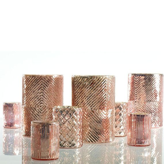 Rose Gold Mercury Glass Candle Holders by RevelryPartyCompany