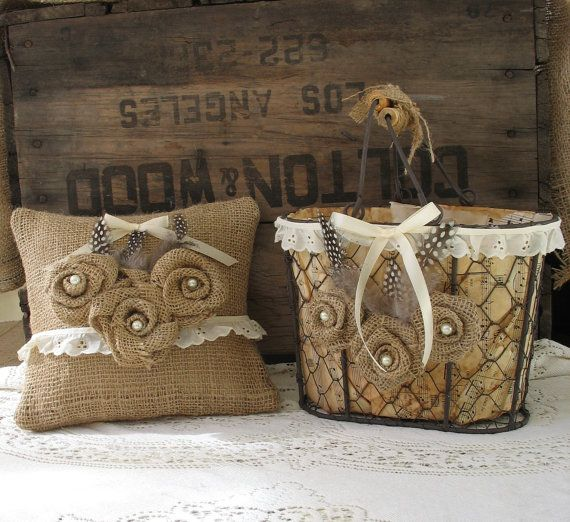 Flower Girl Basket Ring Bearer Pillow set Shabby Chic Wedding, Rustic Wedding.