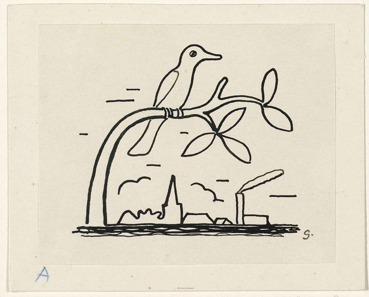Ontwerp voor een vignet voor het maandblad voor Beeldende Kunsten: een vogel op een tak, Leo Gestel, 1891 - 1941