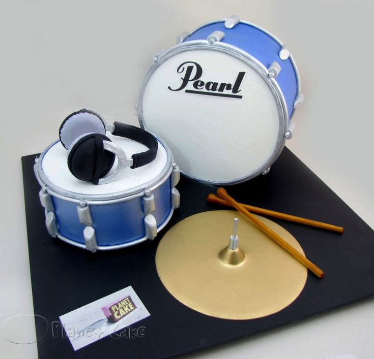 Drum Set Cake by www.planetcake.com.au - For all your cake decorating supplies…