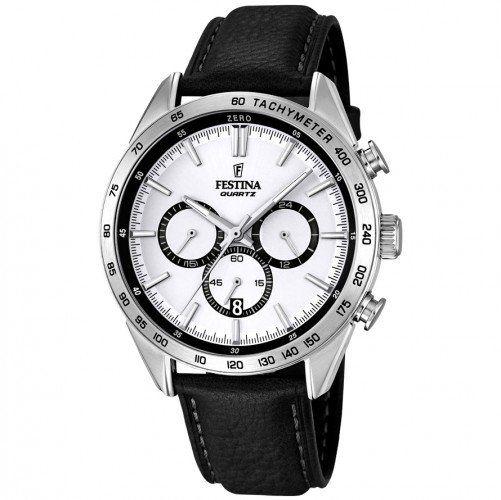 Pánské hodinky Festina s černým koženým páskem a ocelovým pouzdrem. Ciferník chráněný minerálním sklem zobrazuje 24h čas, datum i stopky. Součástí je i tachymetr.