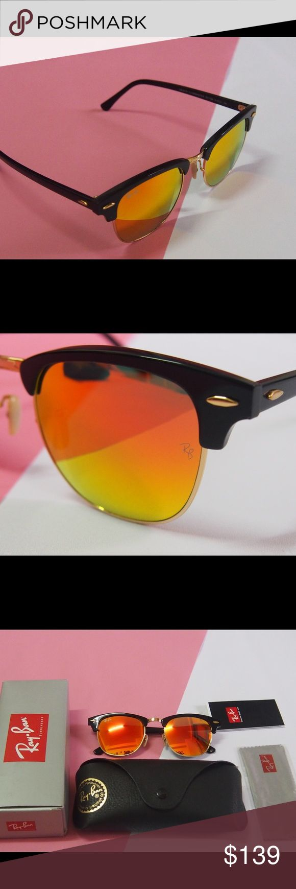 NWT RB clubmaster 3016 sunglasses Orange RB 3016 clubmaster sunglasses Orange  100% authentic and brand new No scratches 62mm  You can check the carved letters on the surface of the glasses Ray-Ban Accessories Sunglasses