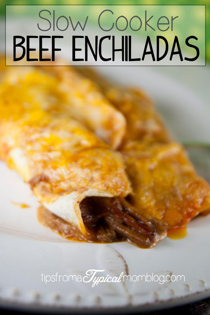 Slow Cooker Beef Enchiladas. Easy, family friendly and perfect for a busy weeknight meal! From Tips From a Typical Mom
