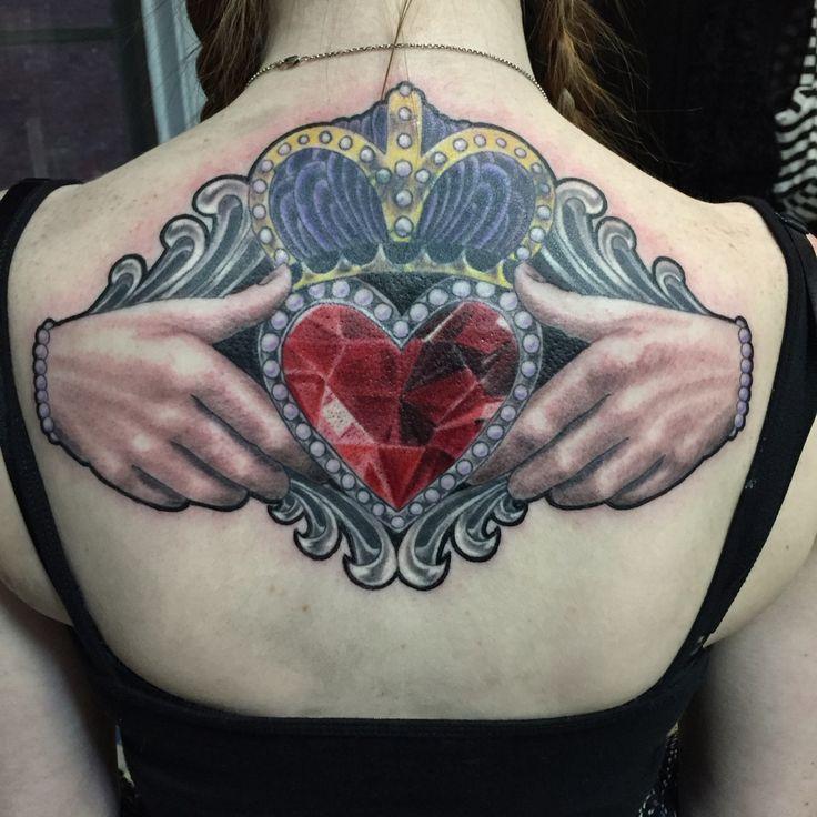 Claddagh tattoo by travis louisville tattoos pinterest for Claddagh ring tattoo