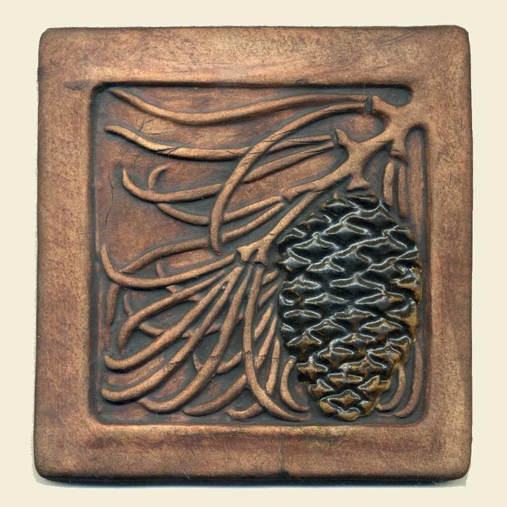 Craftsman tiles | Craftsman style Pine Cone Tile in warm brown by RavenstoneTiles