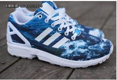 Sale Cheap Adidas Zx Flux Ocean Waves Navy Blue White Trainers UK Now