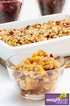 Healthy Breakfast Recipes: Peach  Oat Breakfast Bake. #HealthyRecipes #DietRecipes #WeightlossRecipes weightloss.com.au
