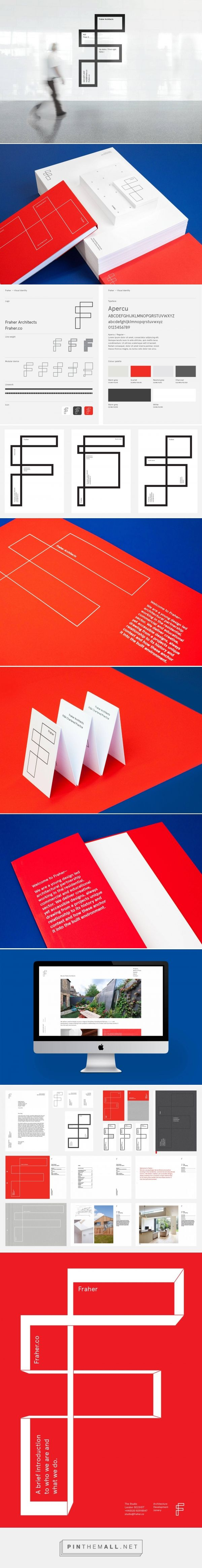 Fraher architects Visual identity system for London based Fraher architects. Our concept is based on the visual language of architecture. The logo is based on the plan view of the letter F. The intersecting compartments create a simple graphic device for containing text, images and texture. A vibrant red accent colour supports the minimal yet functional aesthetic. Applications include: suite of stationery, website, internal documents and presentation materials.