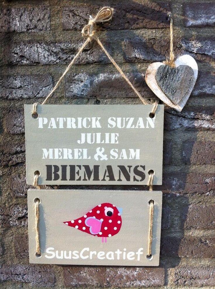 Stoere naamborden voor bij de voordeur ( ook leuk als bedrijfsnaambord) via www.wisenwaarachtig.nl