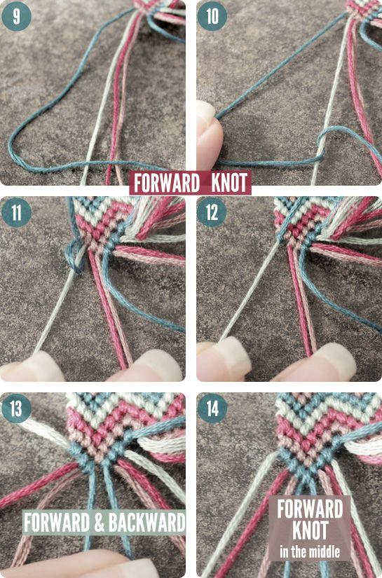 DIY#9-Double Chevron Friendship Bracelet-F knot
