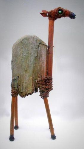 dromedary, Gerard Collas, sculpture, assemblages Wood, metal, paint  ht 67cm / width 32cm / 13cm thick